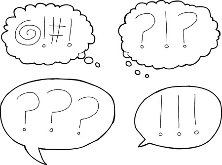 Set of four outlined expression icons in dialog bubbles Vettoriali