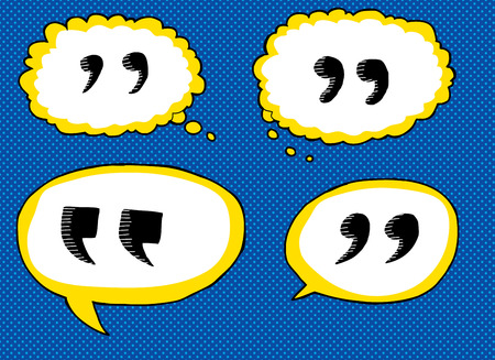 Hand drawn cartoon quotation marks in dialog bubbles