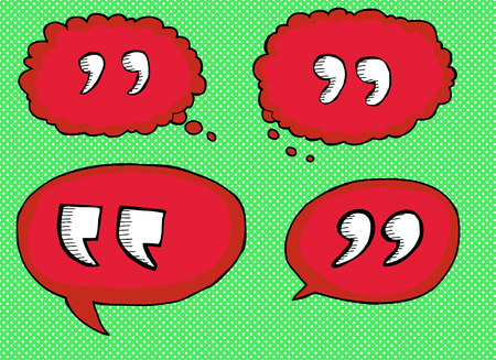 red hand: Red hand drawn quotation marks in bubbles over green Illustration