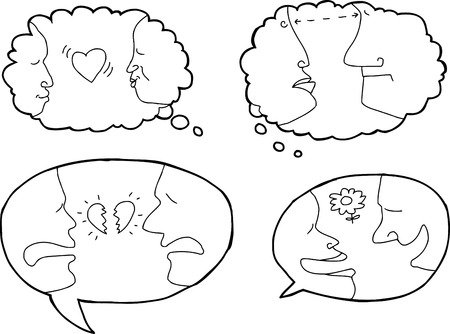 Outlined dialog bubbles with people in relationships Vector