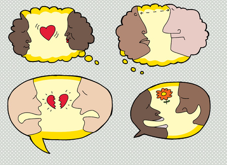 happy sad: Set of speech bubbles with happy, sad and serious people