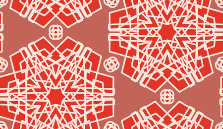Seamless scarlet symmetrical pattern for wallpaper or background