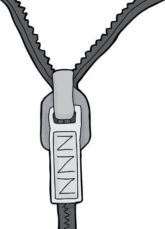 Close-up van de kleding rits met z symbool