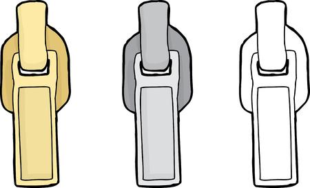Set van verschillende geïsoleerde rechthoekige rits onderdelen Stock Illustratie