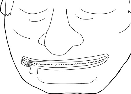 Hand drawn outline cartoon of man with zipper on mouth