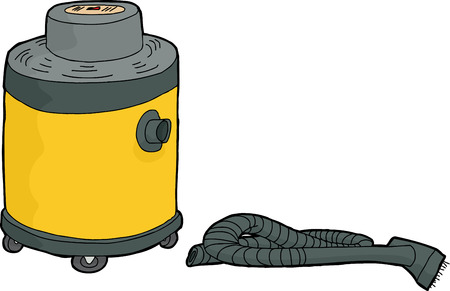disconnected: Single yellow shop vac with disconnected hose