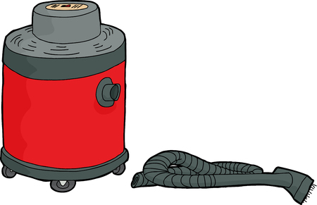 disconnected: Hand drawn red cartoon wet-dry vacuum with disconnected hose