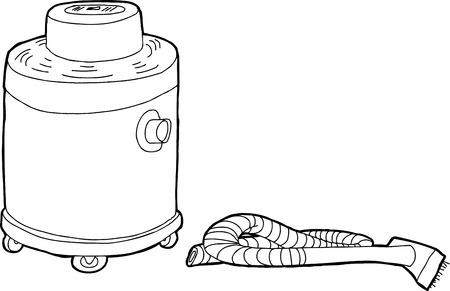 Single outline cartoon large vacuum with hose