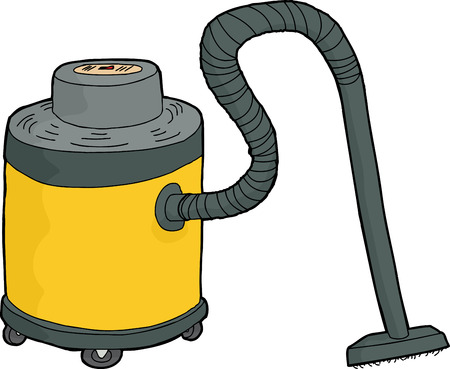 cut out device: Single yellow shop-vac illustration over white background