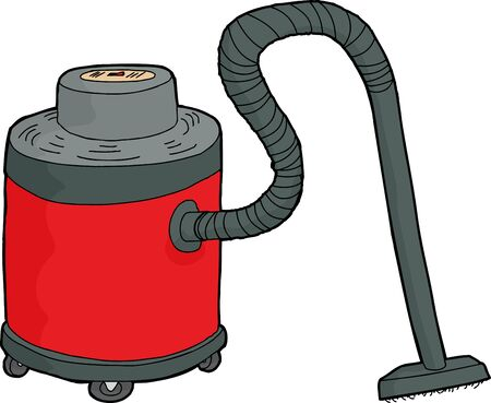 Large red professional wet-dry vacuum cartoon over white 일러스트