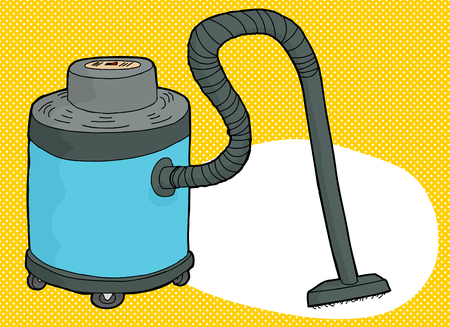 Single blue cartoon large vacuum over yellow background Ilustrace