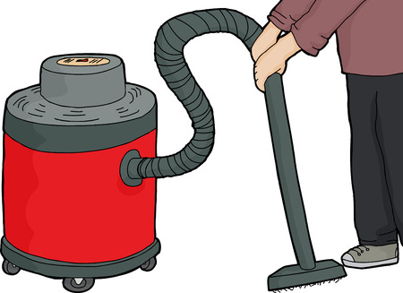vacuum cleaner worker: Caucasian worker using red wet-dry vacuum on isolated background