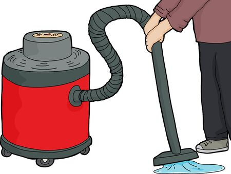 Janitorial worker using red wet-dry vacuum on water Illustration