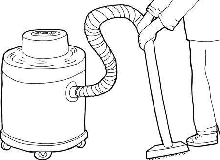vacuum cleaner worker: Outlined hand drawn cartoon of wet-dry vacuum