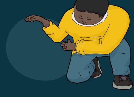 nothing: Cartoon of Black man kneeling with hands holding nothing Illustration