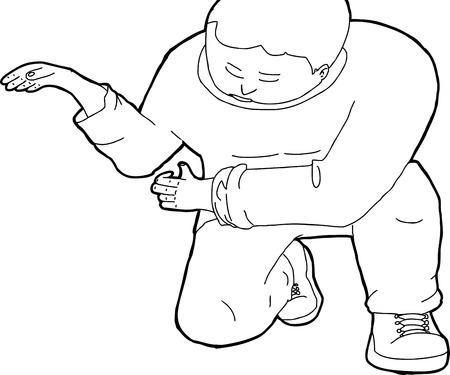 Hand getrokken schets cartoon van knielende werkende man Stock Illustratie