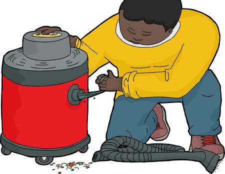 ajoelhado: Ajoelhado homem limpando um v�cuo molhada e seca entupido