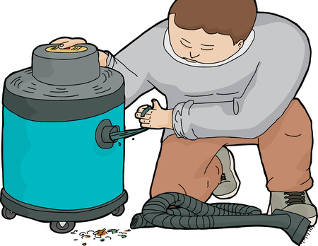 jammed: Illustration of janitor cleaning out clogged large vacuum