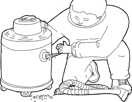 clogged: Outline illustration of janitor with clogged wet-dry vacuum