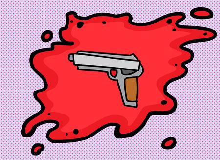 cocking: Cartoon of pistol in blood over purple halftone