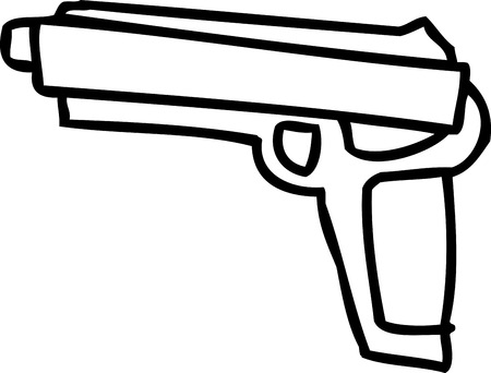 cocking: One outlined hand drawn pistol gun over white