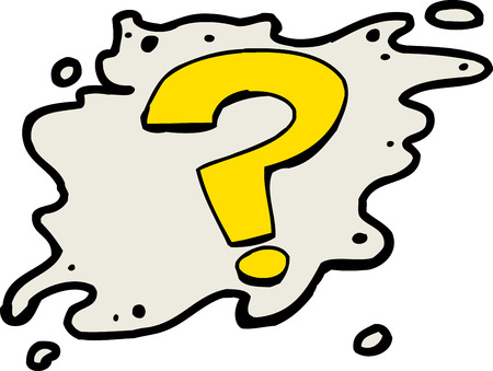 communication cartoon: Single isolated yellow question mark symbol over white