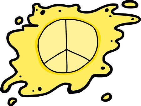 splattered: Single hand drawn yellow splattered peace symbol on white