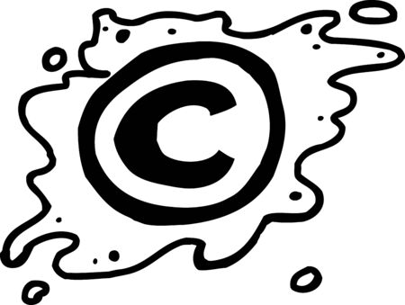 Hand drawn outlined cartoon copyright symbol on white