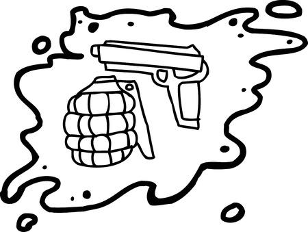 blutspritzer: Cartoon Umriss von Waffen innerhalb Blut Splatter