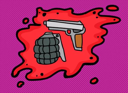 grenade: Hand grenade and pistol in blood over purple