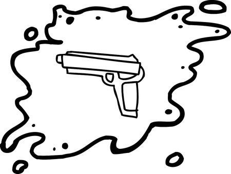 handgun: Outlined single cartoon handgun in splattered blood