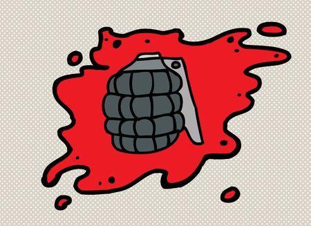 splattered: Single cartoon grenade in splattered blood over halftone