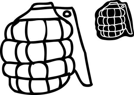 grenade: Single outlined cartoon grenade over white background