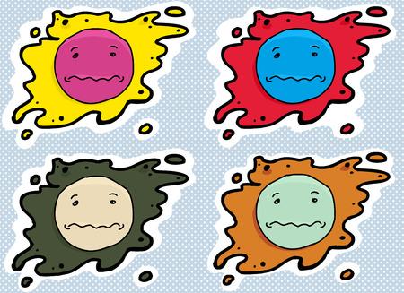 misery: Set of splattered anxious face symbol avatars