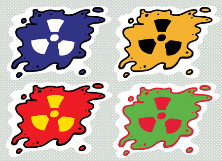 contamination: Set of cartoon radioactive fallout contamination symbols Illustration