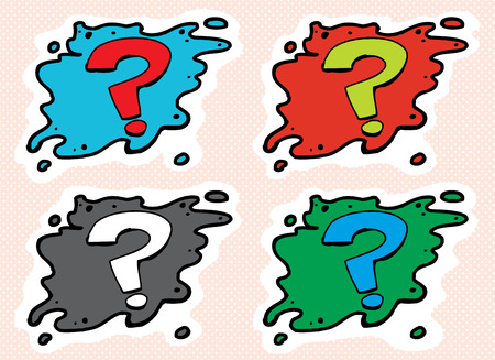 questioning: Green, blue, red and gray cartoon question mark icons