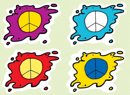 the series: Series of cartoon peace symbols in different colors