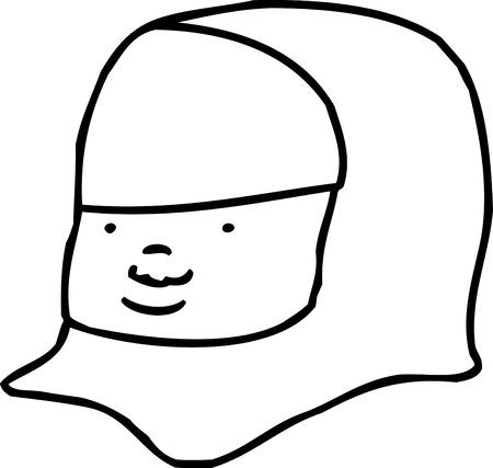 Outline of cute Muslim female face close up