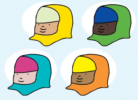 ヒジャーブ漫画かわいい多様なイスラム教徒の女性のセット  イラスト・ベクター素材