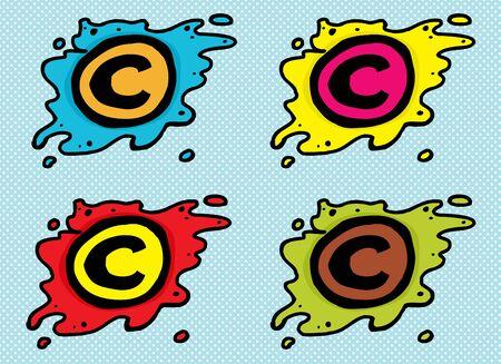 Set of cartoon copyright symbols in blobs over blue