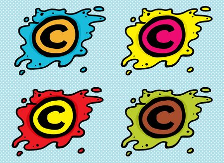 Set van cartoon auteursrecht symbolen in blobs over blauw