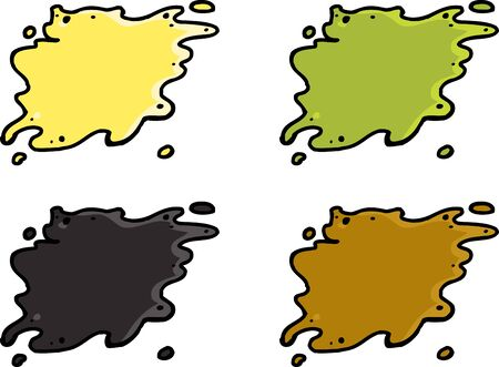 feces: Set of various waste spills over white background Illustration