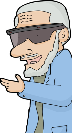 gray haired: Gray haired man with beard and virtual reality glasses Illustration