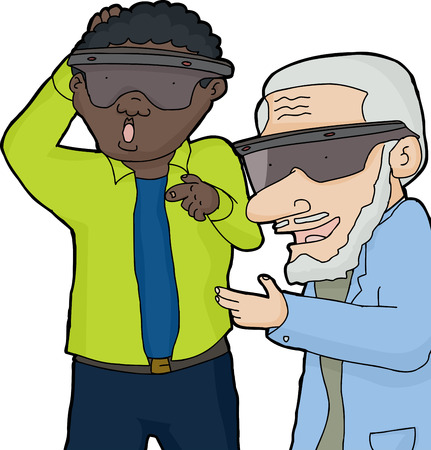 reaching: Excited mature men with virtual reality glasses reaching out Illustration
