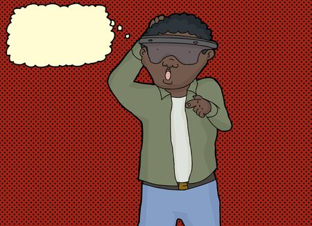 Single curious mature African man pointing finger Vector
