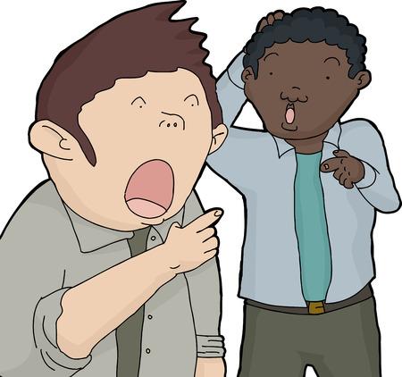 Dos hombres sorprendidos con la boca abierta señalando con el dedo