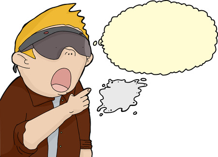 fascinated: Fascinated blond man in virtual reality lenses thinking Illustration