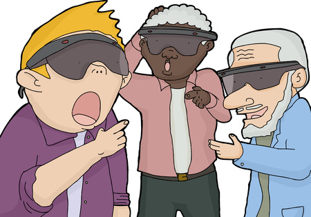 Three men with virtual reality lenses pointing their fingers Vector