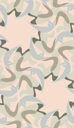 desaturated: Desaturated blue and brown boomerang shapes in seamless pattern