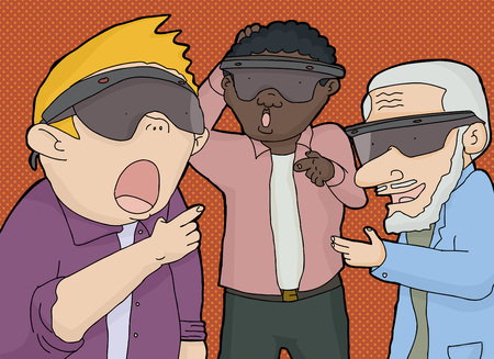 Group of three men in virtual reality lenses pointing their fingers Vector